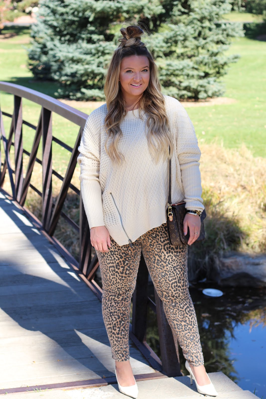 Leopard Print Pants are better than the usual blue jeans by fashion blogger Delayna Denaye