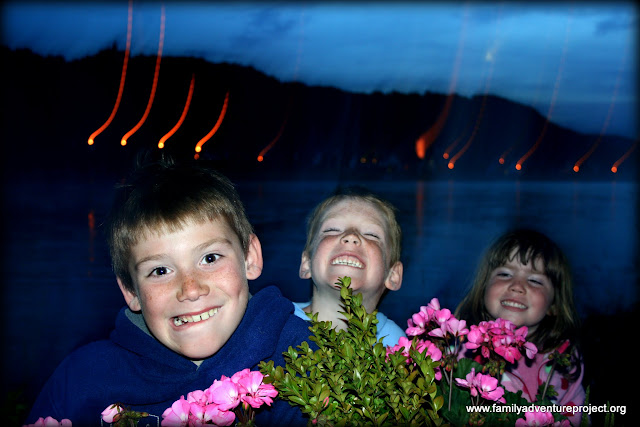 Kids by the Rhine at Night
