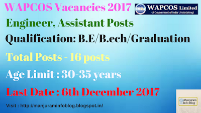 WAPCOS Recruitment 2017 - Engineer , Assistant Posts