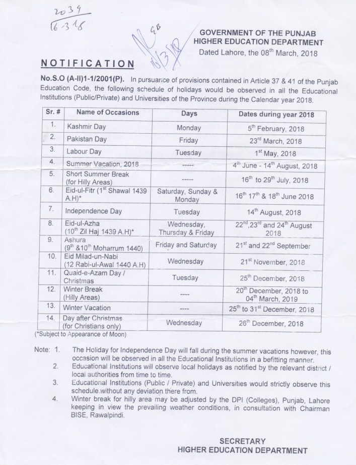 Notification of Summer Vacation 2018 and other Holidays Schedule HED Punjab Colleges and Universities