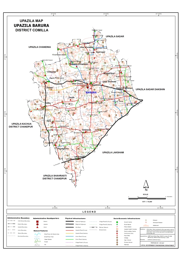 Barura Upazila Map Comilla District Bangladesh