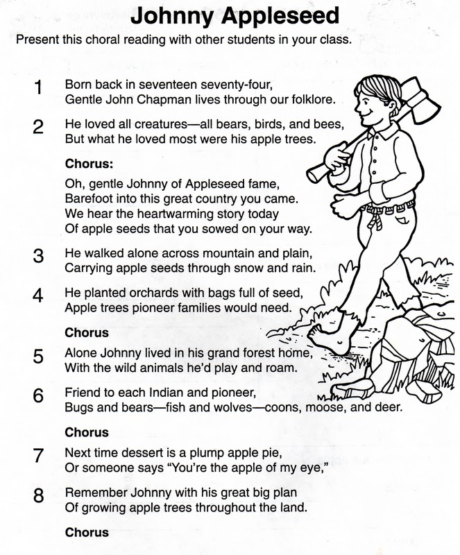 Johnny Appleseed Worksheet