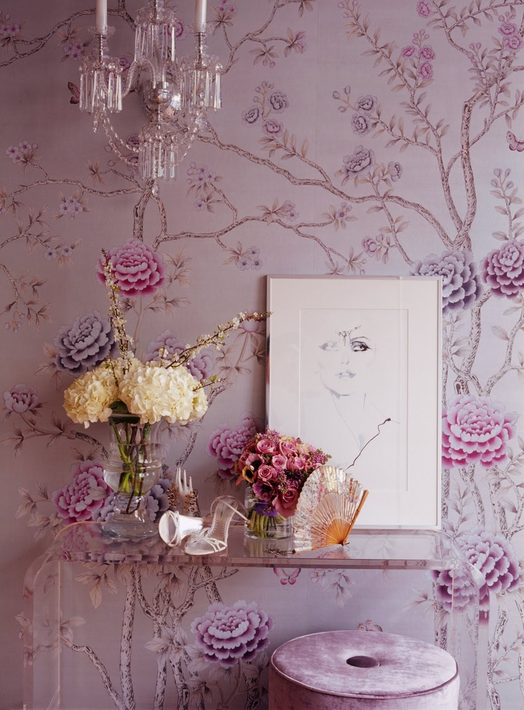 Black And Silver Floral Wallpaper Chinoiserie Chic Lavender Amp Chinoiserie Amp Inspiration Boards