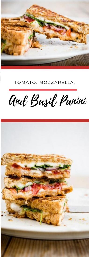 Tomato, Mozzarella, and Basil Panini #food