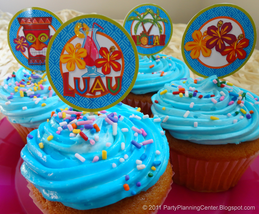 Tropical Themed Party Ideas Free Printables: Free Printable Hawaiian Luau Cupcake Toppers