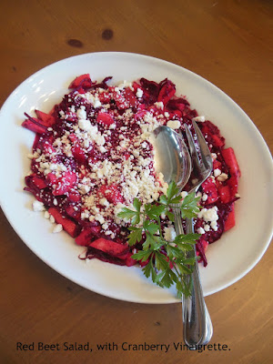 Red Beet Salad with Cranberry Maple Vinaigrette, part of our December blitz of recipes!