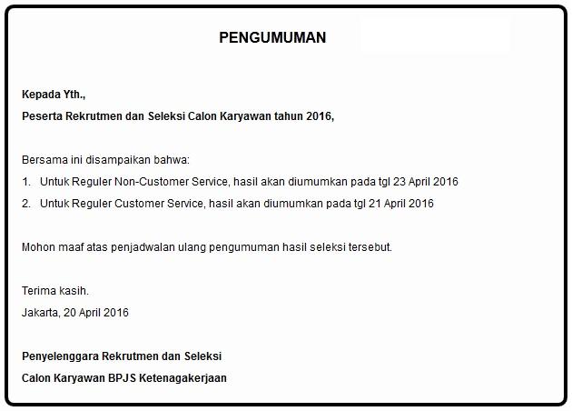 hasil administrasi BPJS KETENAGAKERJAAN, Pembertitahuan kelulusan BPJS Ketenagakerjaan