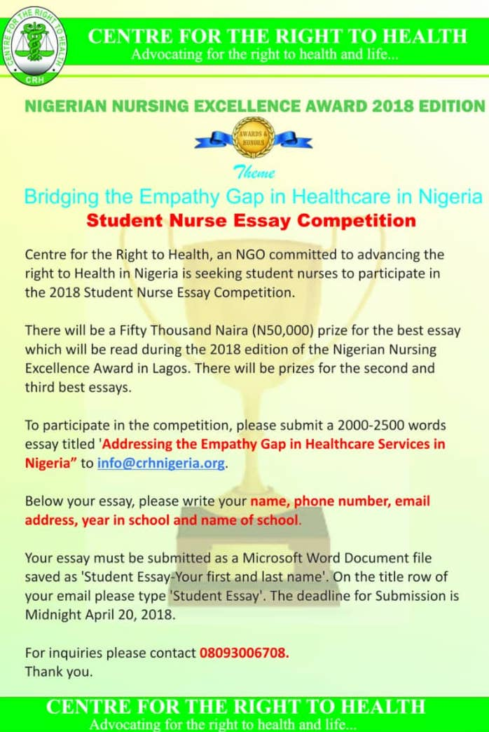 Student Nurse Essay Competition  By Crhnigeria  You Have  Student Nurse Essay Competition  By Crhnigeria
