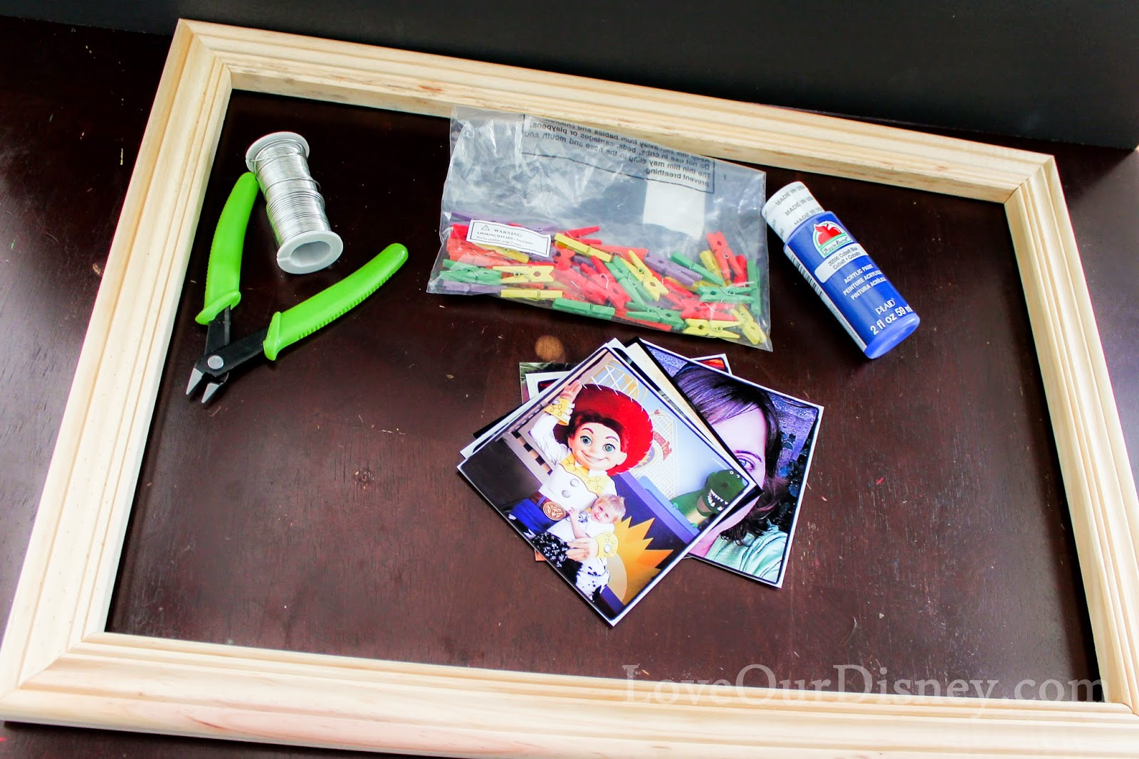 DIY Clothesline Photo Display by LoveOurDisney.com