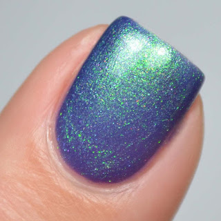 blue nail polish with aurora shimmer