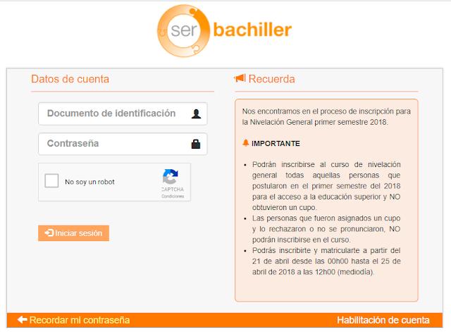 Ser Bachiller 2019 Inscripciones