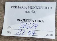 Numar de inregistrare memoriu pentru amenajarea Parcului Fagaras