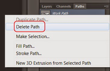 """layer Work Path trong thẻ Paths chọn """"Delete Path"""""""