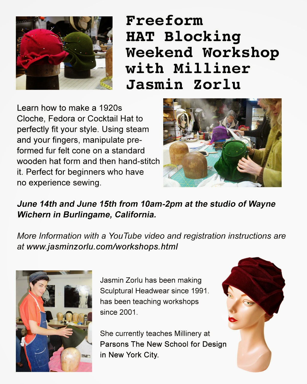 Upcoming June Hat Making Workshops at Wayne Wichern's California