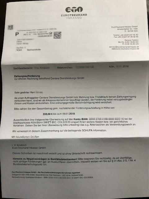 Scan: Forderung EuroTreuhand Inkasso für Centera Dienstleistungs GmbH / Seite 01