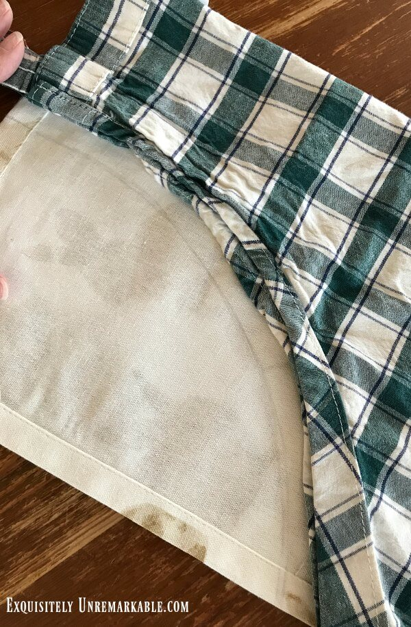 How To Make A Full Apron From A Towel using old apron as pattern