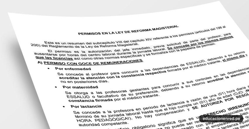 ANÁLISIS: Permisos en la Ley de Reforma Magisterial (Fernando Gamarra Morales)