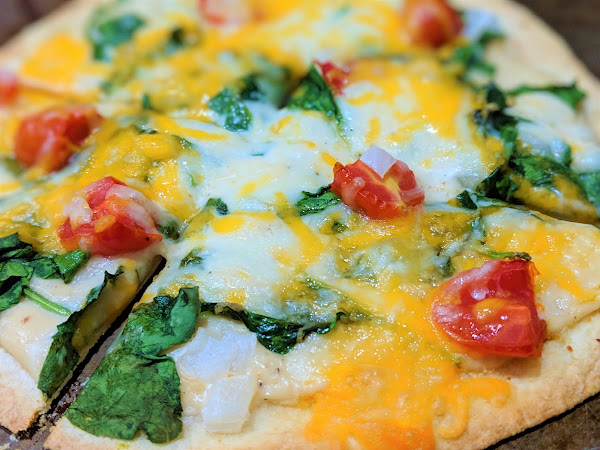 Spinach Tomato Tortilla Pizza