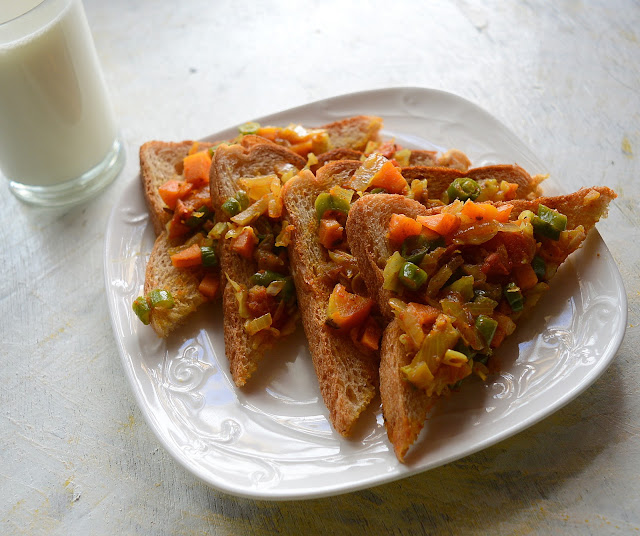 Vegetable Toast | Vegetable Masala Bread Toast | Easy Breakfast Recipe