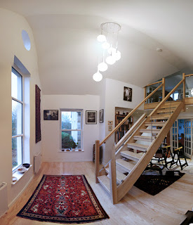 Double height entrance hall with stair leading to attic room with a view. kitchen alterations, cb3 design, Scottish Borders, Architects