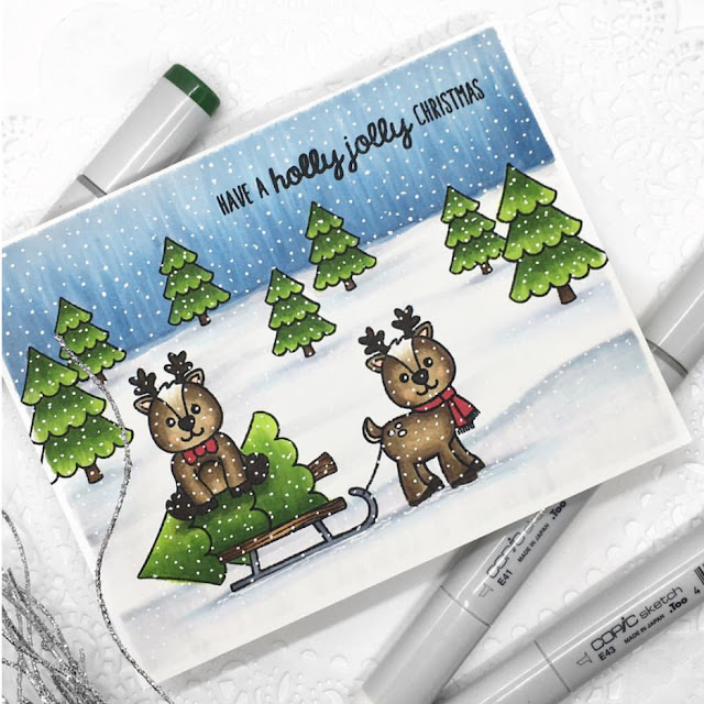 Sunny Studio Stamps: Gleeful Reindeer Customer Card Share by Stephanie Klauck