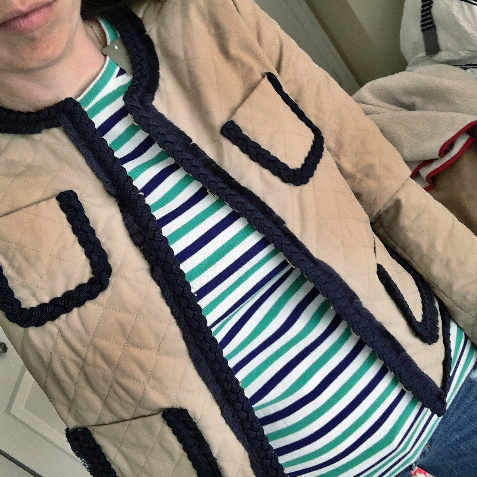 striped tee and jacket