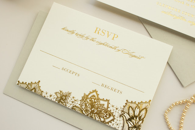 foil stamp wedding invitation suite
