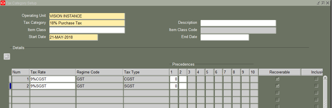 Part2 GST setup in Oracle Apps : GST configuration in Oracle Apps r12