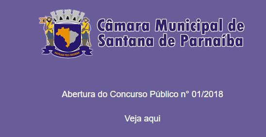 Câmara de Santana de Parnaíba Concurso 2018 (Edital / Inscrições)