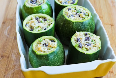 Vegetarian Stuffed Zucchini Recipe with Brown Rice, Black Beans, Chiles, Cheddar, and Cotija Cheese from KalynsKitchen.com