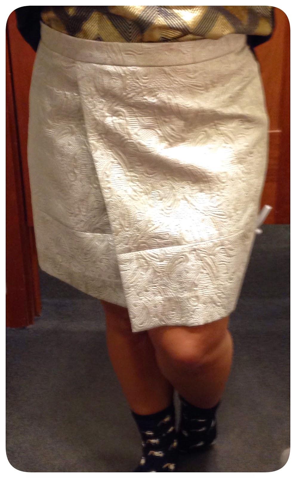 j crew origami skirt in metallic matelasse