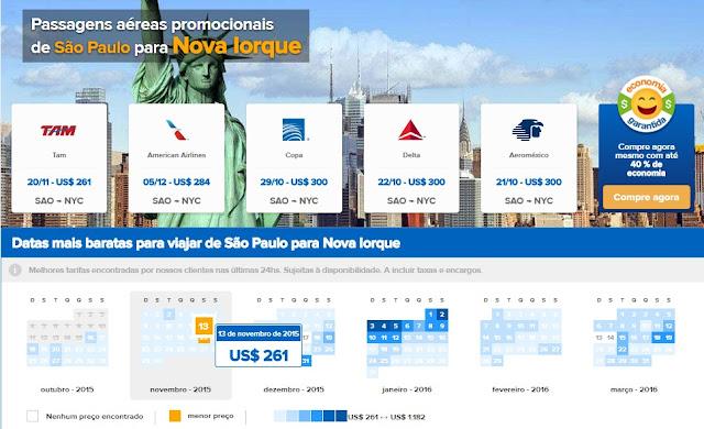Passagens em promoção para Nova York