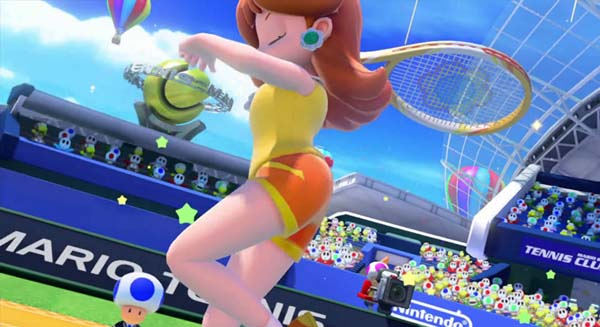 Princess Daisy playing tennis