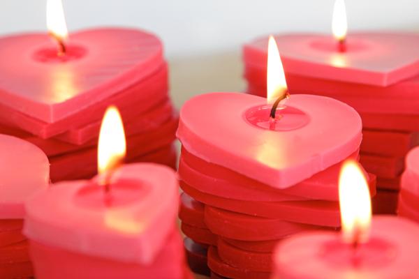 Bougies de coeur empilées