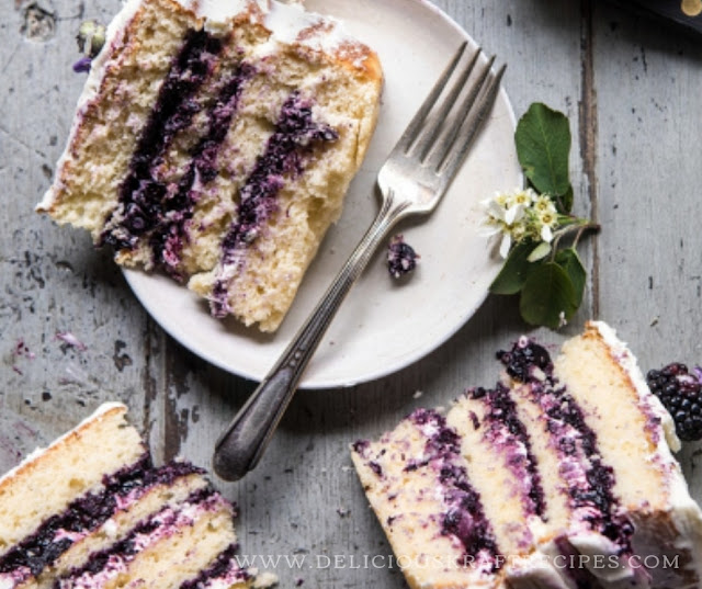BLACKBERRY LAVENDER NAKED CAKE WITH WHITE CHOCOLATE BUTTERCREAM