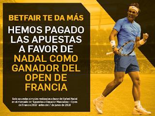 betfair paga adelantado Nadal ganador Open Francia 2018