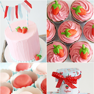 Summer Party Ideas | Strawberry Desserts Table