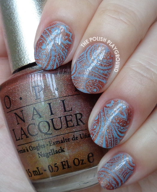 Intricate Vibrant Light Blue Stamping Nail Art