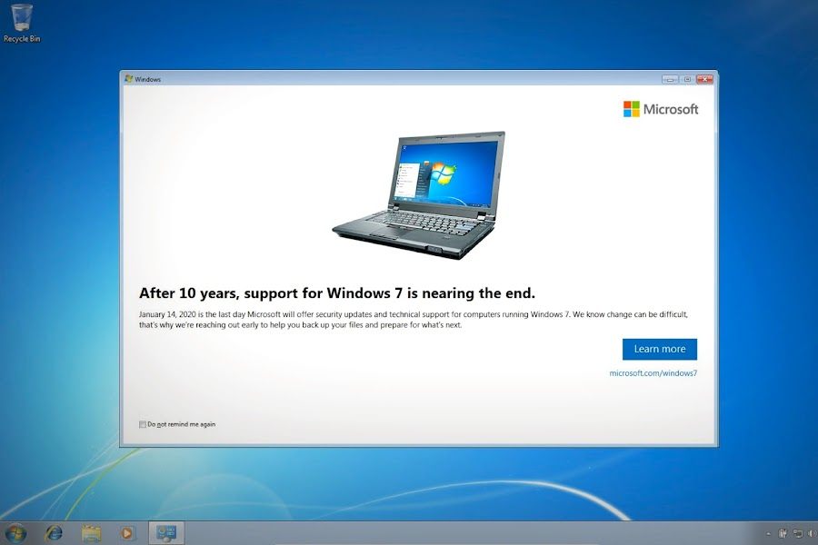 Microsoft Windows 7 users start receiving notifications for end of support