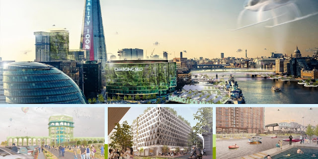 Image Attribute: Four concept urban plans unveiled, named: 'Today', 'Tomorrow', 'Electric City' and 'Electric Future' / Source: Jaguar UK Press