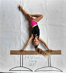 Young girl wearing black and pink gymnastics outfit standing on her hands