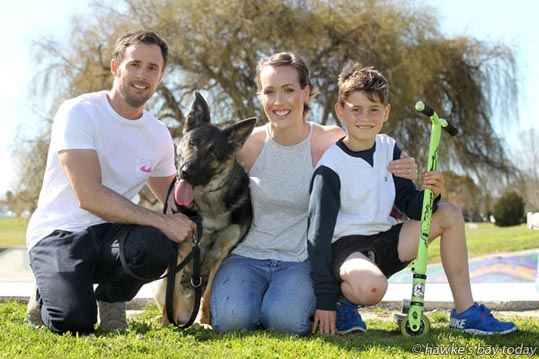 L-R: Scott Munro, Cypress, a retired police dog, Alana Jamieson, cancer survivor, her son Rylin Glenny, Napier, pictured in Anderson Park, Napier. photograph
