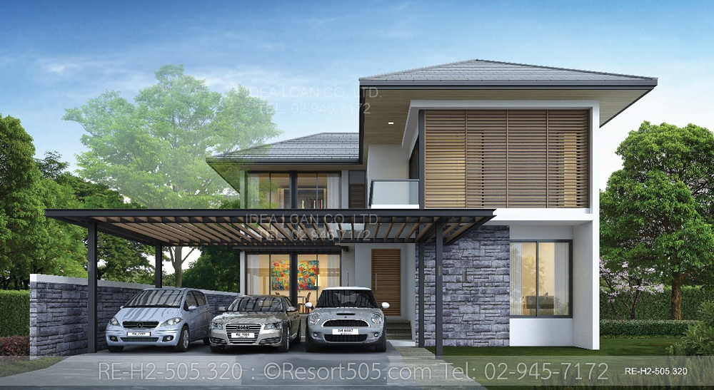 Resort floor plans 2 story house plan 4 bedrooms 5 for Modern thai house design