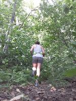 Coureuse, forêt, été, shorts, arbres