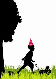 Para hacer invitaciones, tarjetas, marcos de fotos o etiquetas, para imprimir gratis con Siluetas de Niños en un Cumpleaños.
