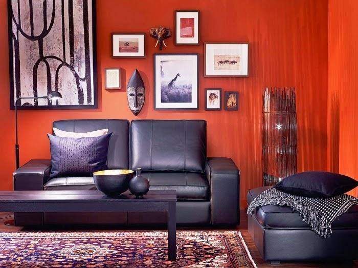 Decoración sala naranja negro