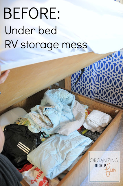 BEFORE: Under bed RV storage mess