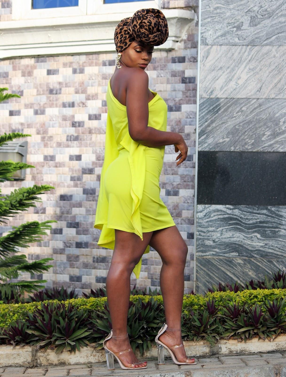 ONE SHOULDER DRESS - Porshher One Shoulder Bat-wing Style Dress in Neon
