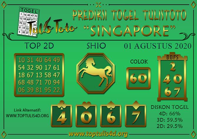 Prediksi Togel SINGAPORE TULISTOTO 01 AGUSTUS 2020