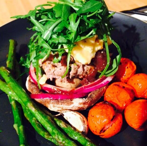 rosemary beef burger portabello mushroom asparagus recipe